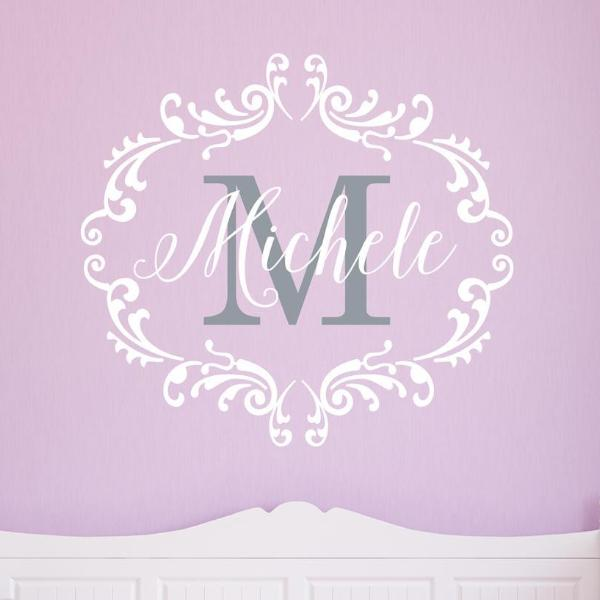 Princess Frame with Monogram Personalized Kids Wall Decal