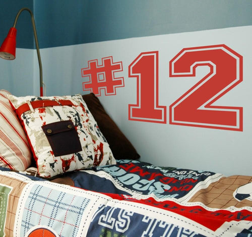 Sports Varsity Numbers Kids Wall Decal