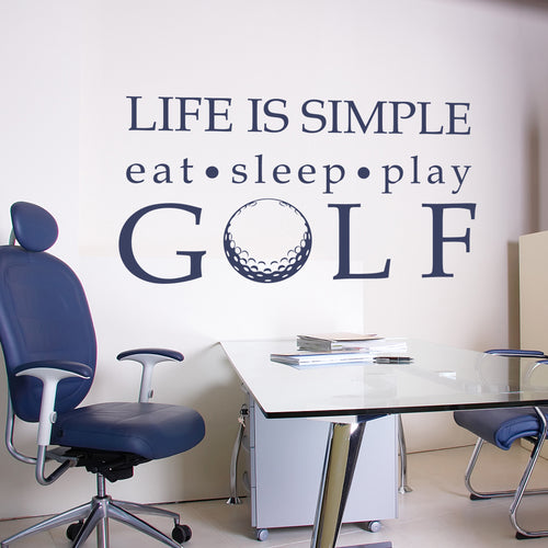 Golf Life is Simple Play Golf Wall Decal