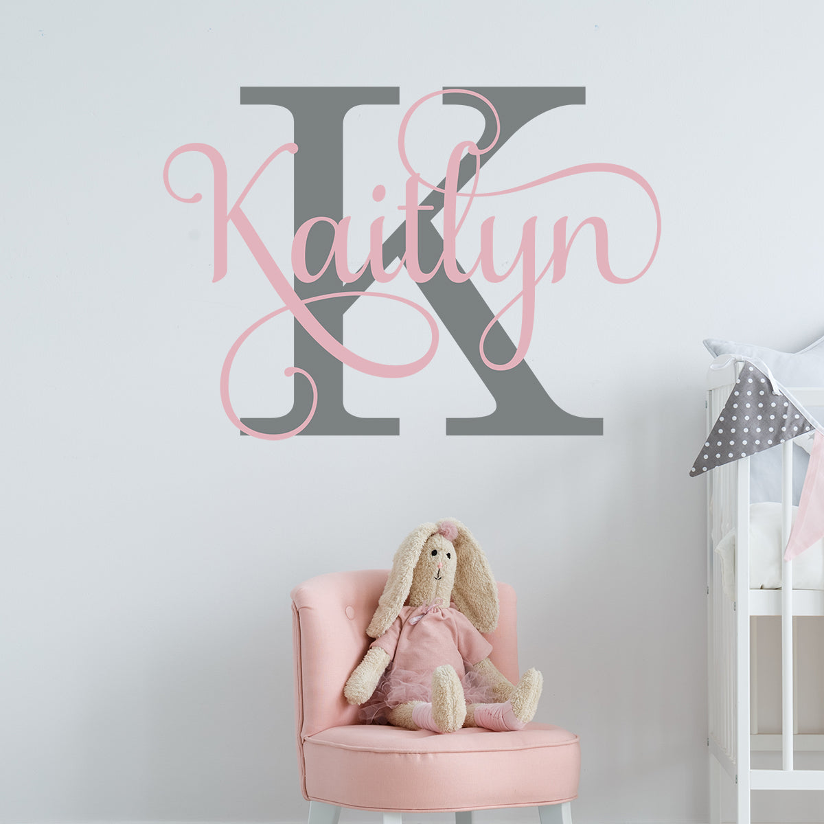 Swirly Girl Name with Initial Personalized Wall Decal