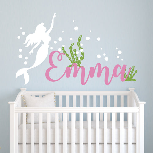 The Little Mermaid Dream with Name Girls Wall Decal