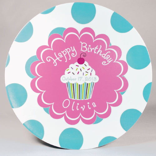 Cupcake Birthday Personalized Melamine Dinnerware Plate