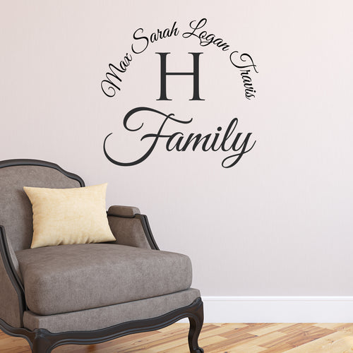 Encircling Family Name Monogram Personalized Wall Decal