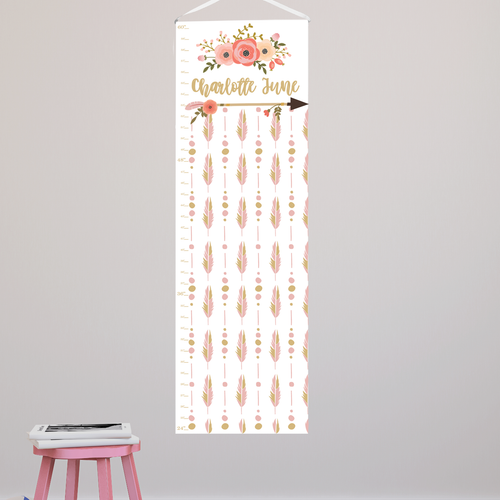 Personalized Blooms and Feathers Canvas Growth Chart
