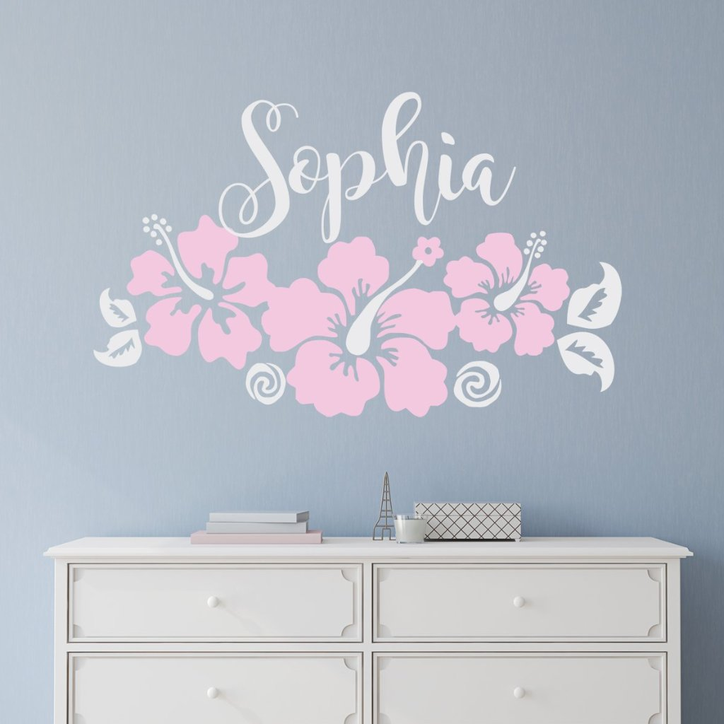 Moana inspired three hibiscus flowers with name kids wall modern moana inspired three hibiscus flowers with name kids wall izmirmasajfo
