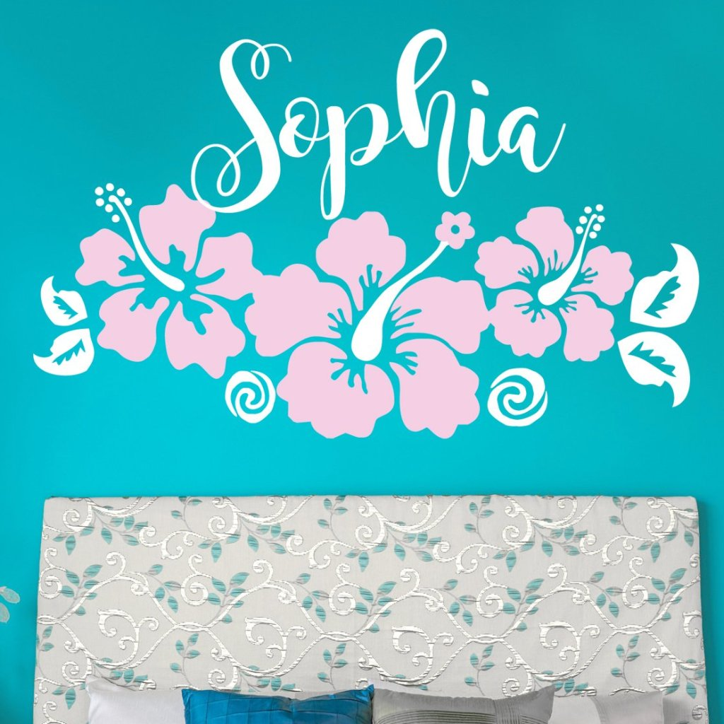 Moana Inspired Three Hibiscus Flowers with Name Kids Wall