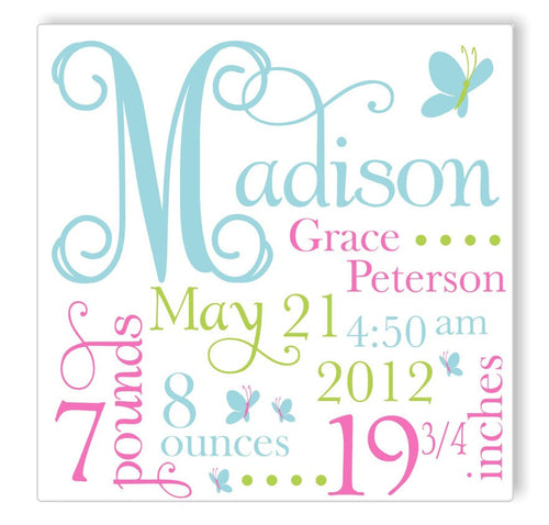 Blue Butterfly Canvas Birth Announcement