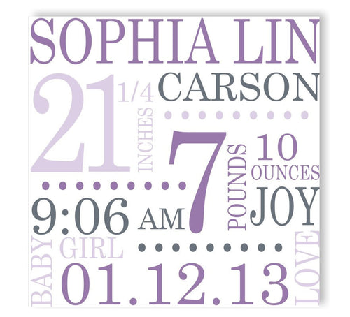 Lovely Lilac Canvas Birth Announcement