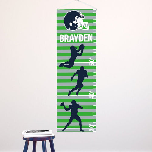 Personalized Football Seahawks Colors Canvas Growth Chart