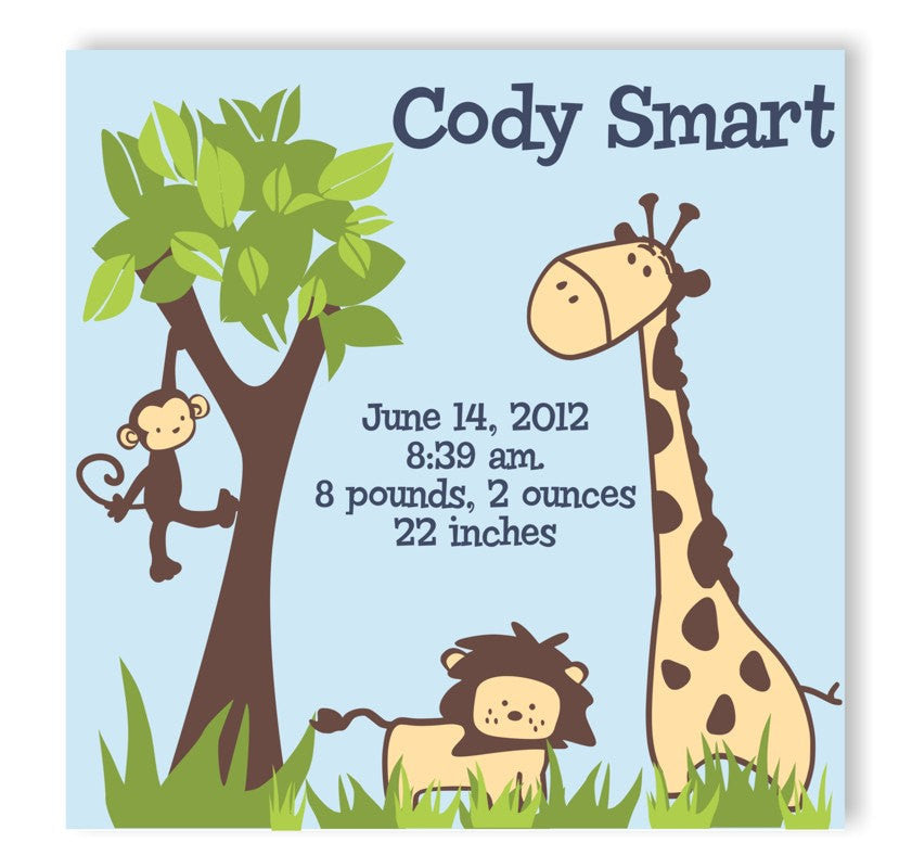 It's a Jungle Canvas Birth Announcement