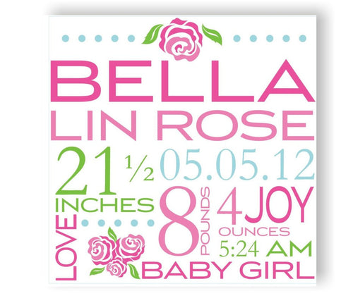 Roses Canvas Birth Announcement
