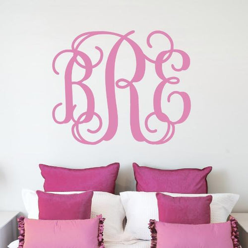 Fancy Interlock Monogram Personalized Wall Decal