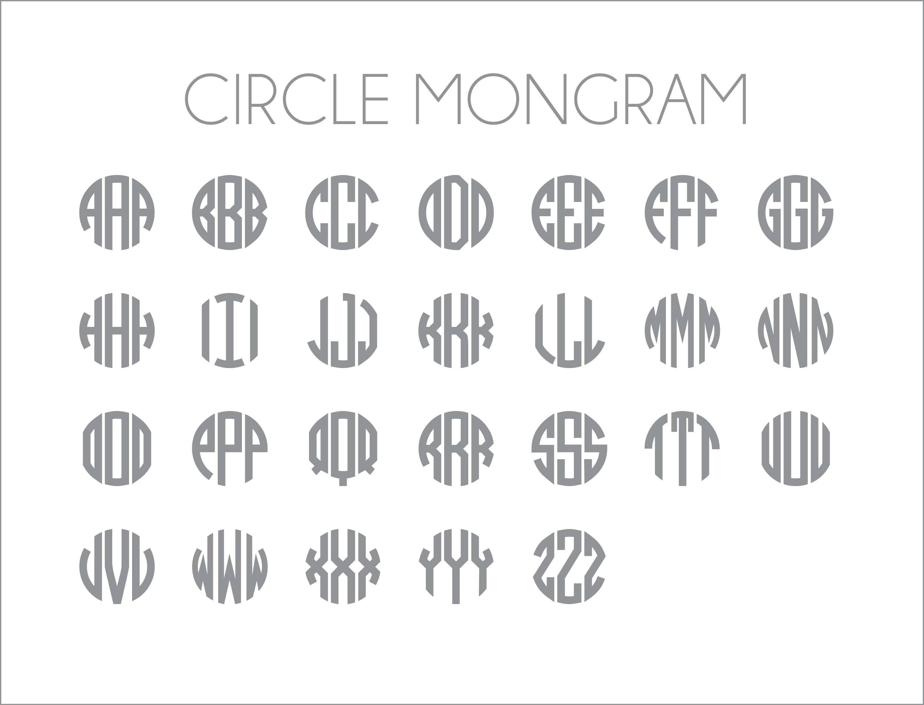 Circle Monogram Personalized Wall Decal