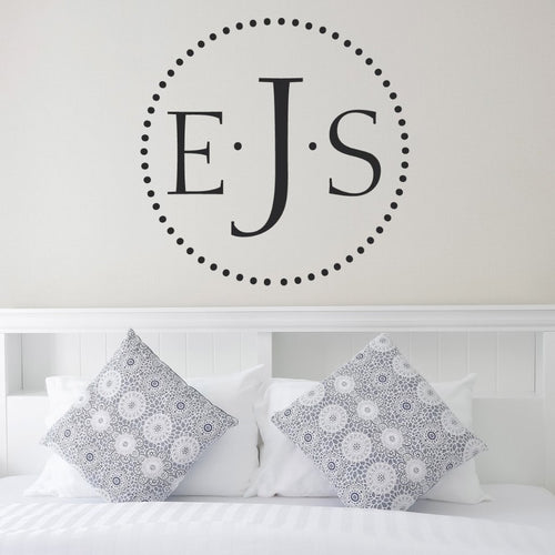 Dot Monogram Personalized Wall Decal