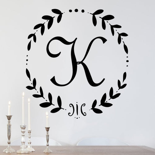 French Vine Monogram Personalized Wall Decal