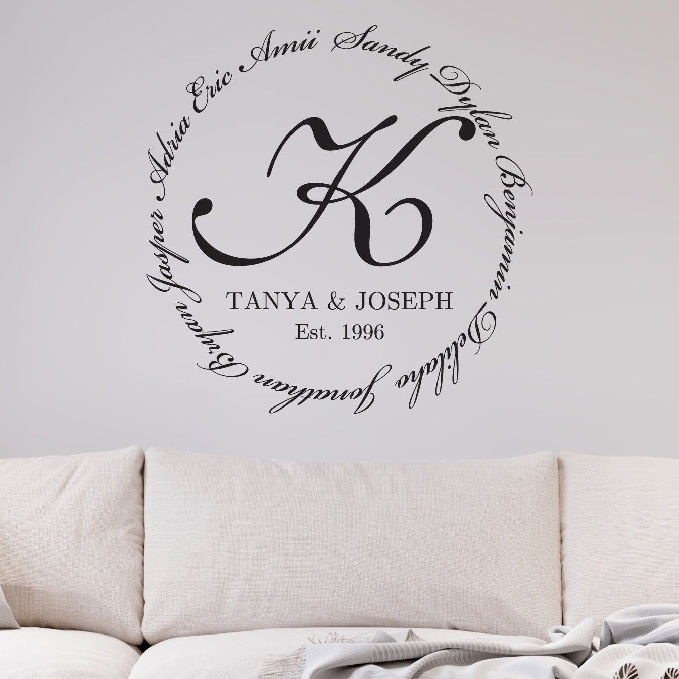 Family Encircling Love Monogram Wall Decal Modern Sticker Co - Advertize monogram wall decals