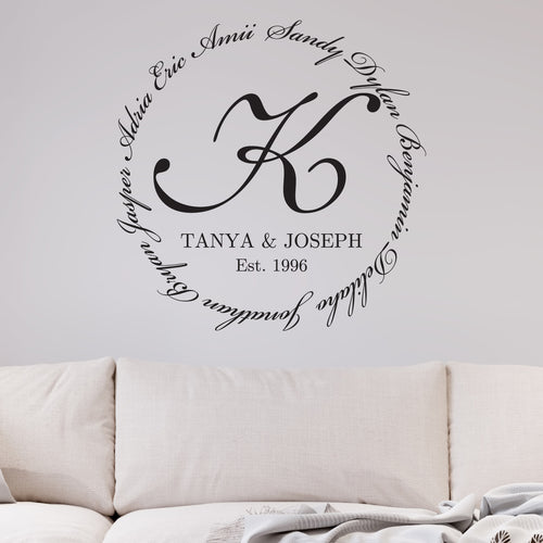 Family Encircling Love Monogram Wall Decal