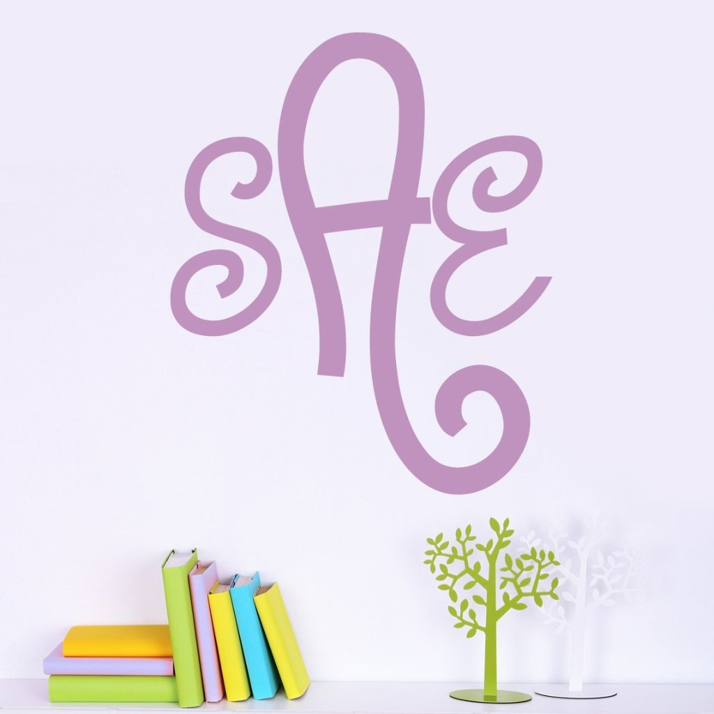 Curly Cue Monogram Personalized Wall Decal