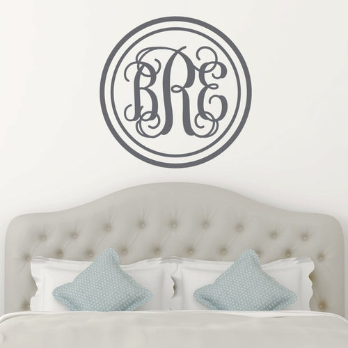 Double Circle Fancy Interlock Monogram Personalized Wall Decal