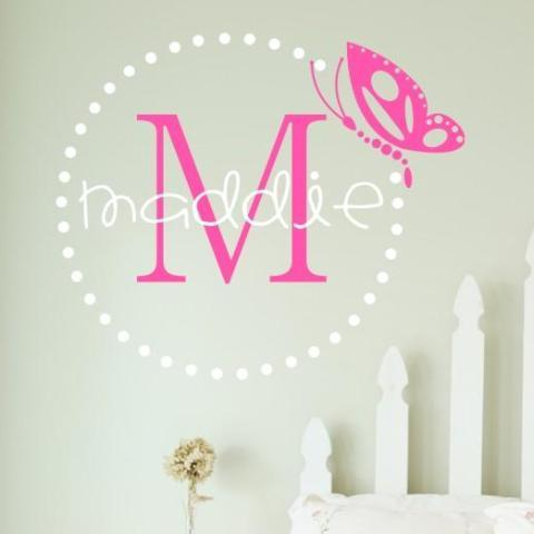 Butterfly Dots Monogram Personalized Wall Decal
