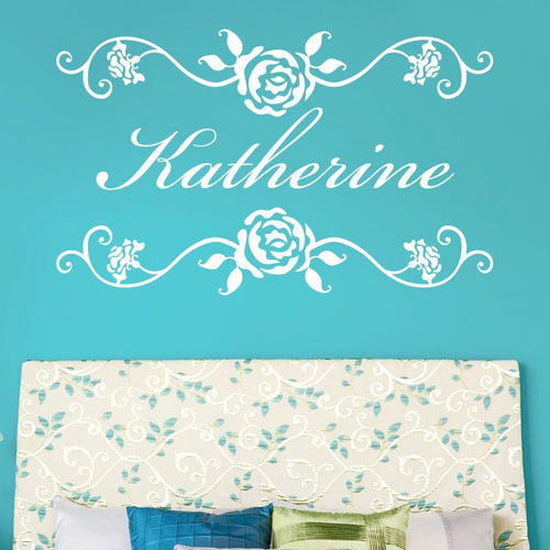 Rosevine Monogram Personalized Wall Decal