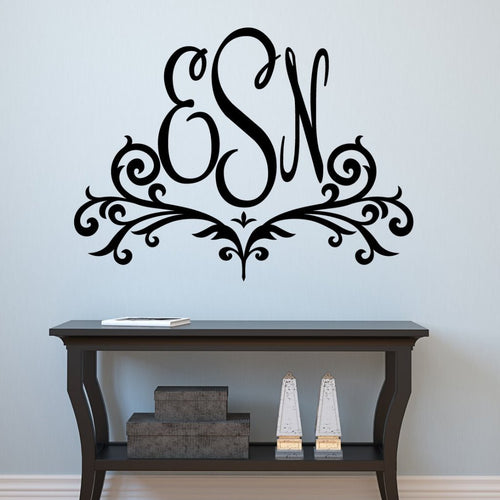 Scroll Monogram Personalized Wall Decal