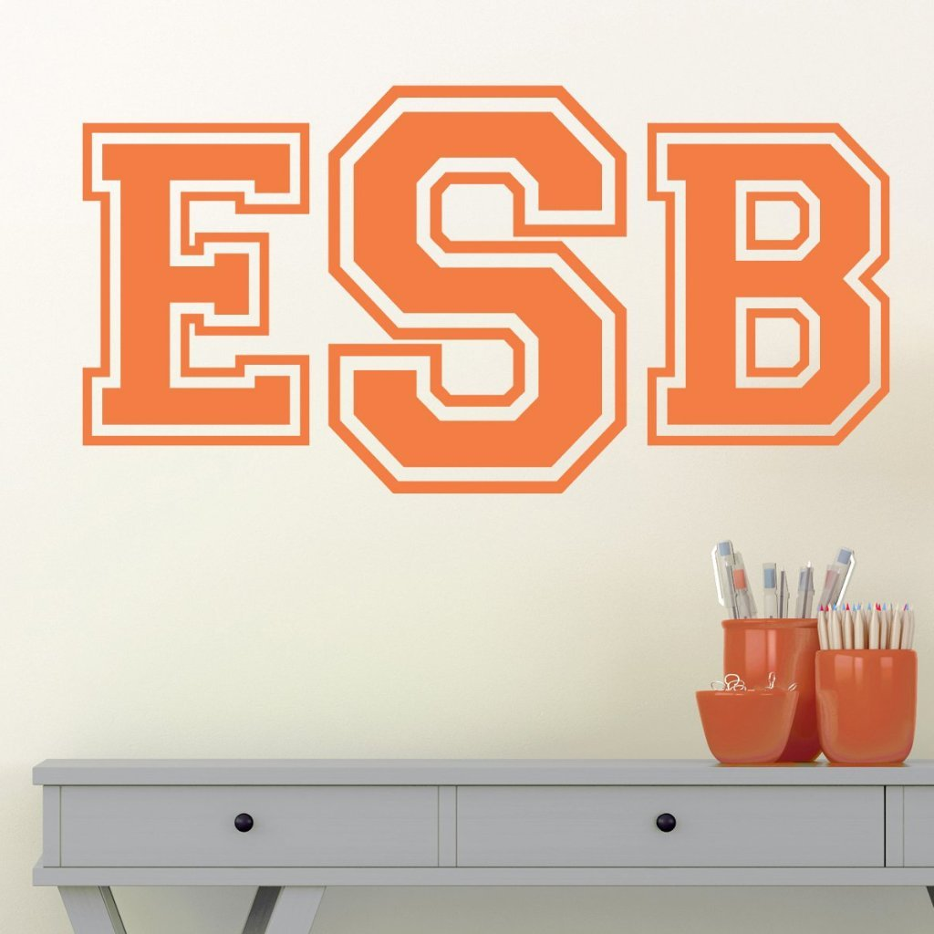 Collegiate Monogram Personalized Wall Decal