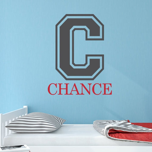 Boy Collegiate Initial with Name Personalized Wall Decal