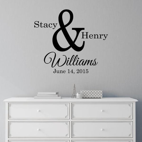 Ampersand Couples Monogram Personalized Wall Decal
