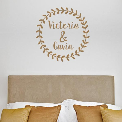 Rustic Wreath Personalized Wall Decal