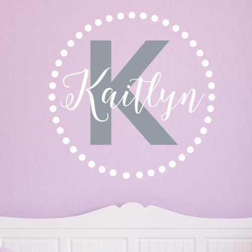Kaitlyn Dots Monogram Personalized Wall Decal