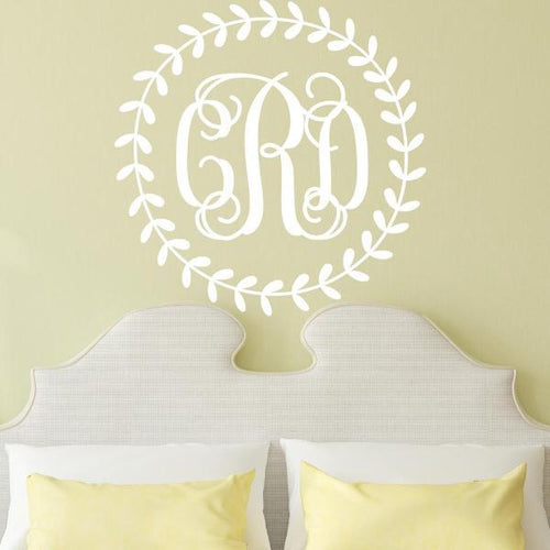 Rustic Wreath Interlock Monogram Personalized Wall Decal