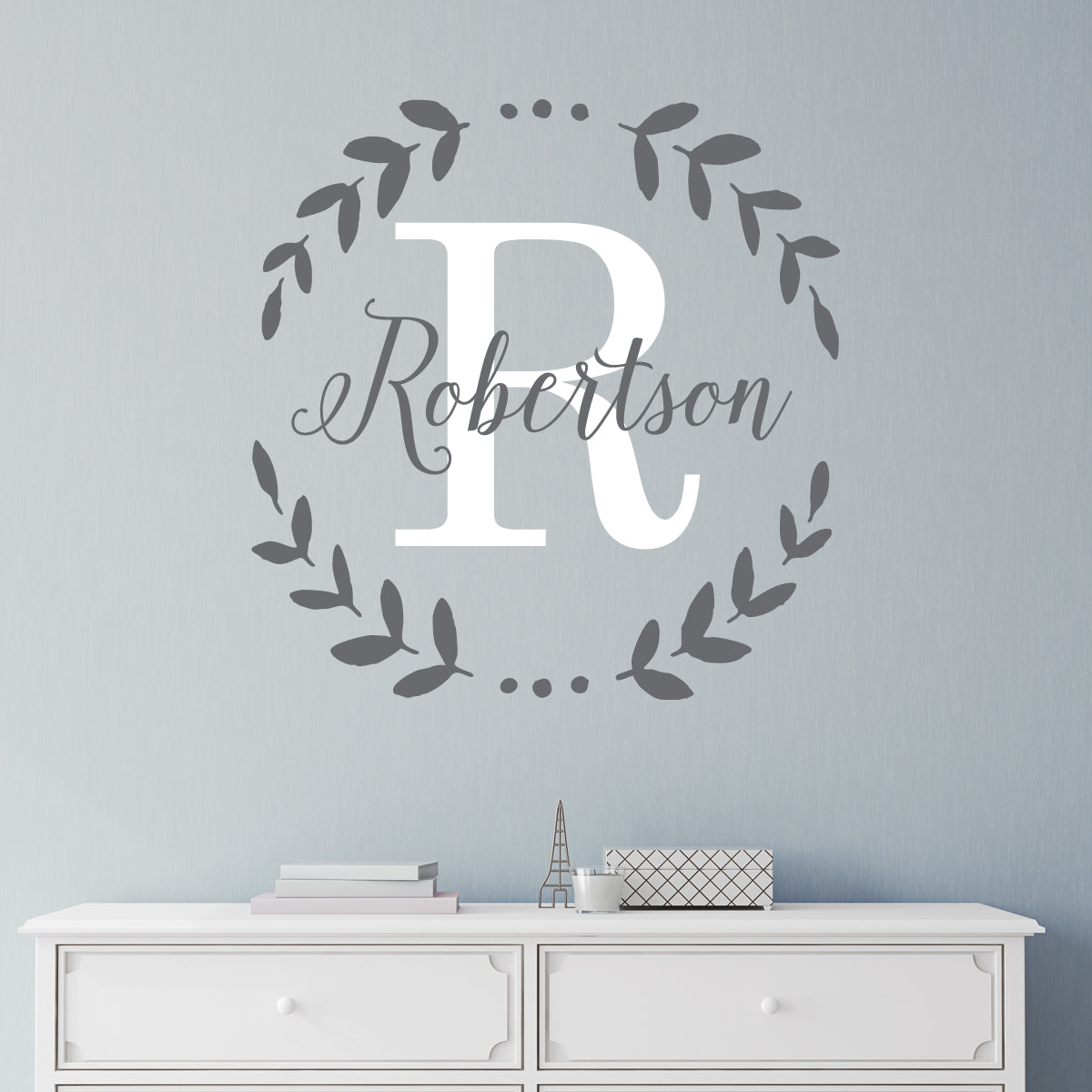 Family Name Laurel Leaf Monogram Wall Sticker