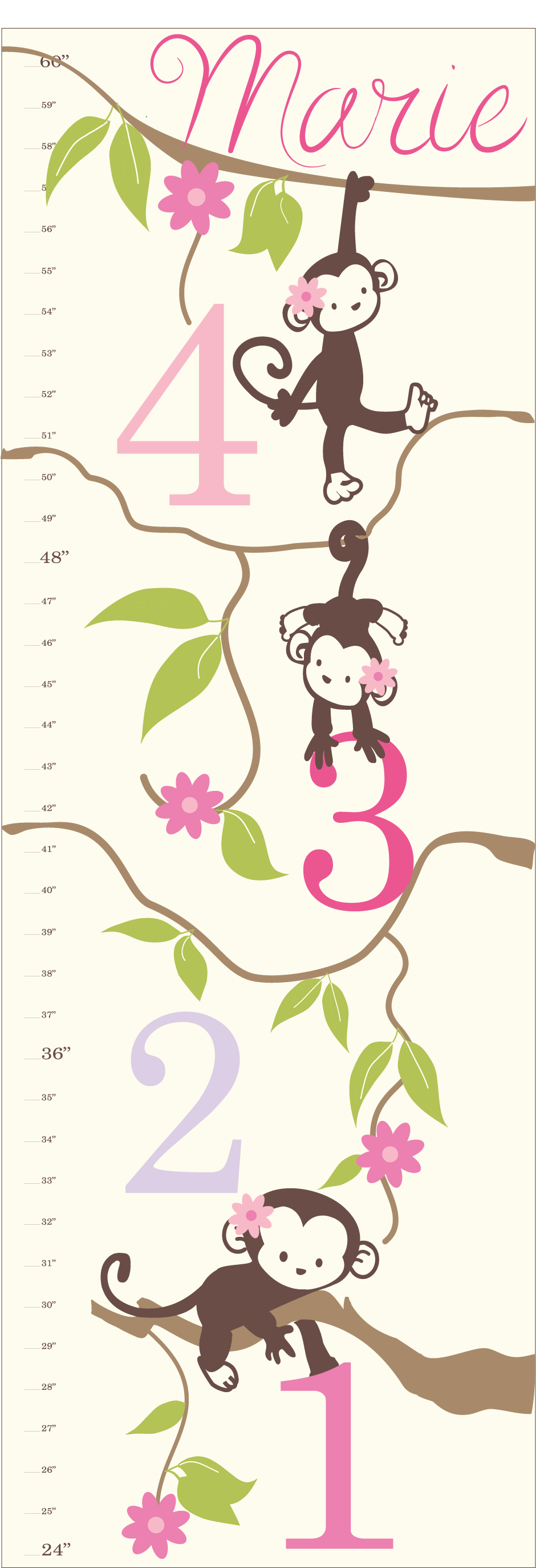 Personalized Girl Monkey Canvas Growth Chart