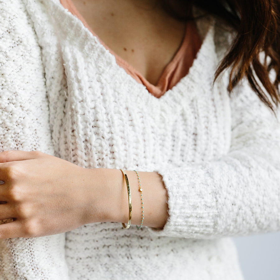 thin gold love bangle