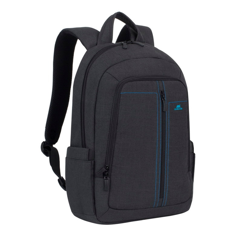 RivaCase 7560 Black Laptop Canvas Backpack 15.6