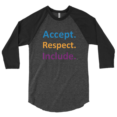 Accept. Respect. Include. Unisex Baseball Jersey