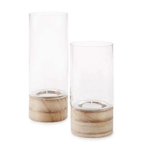 Small Glass & Wood Candleholder