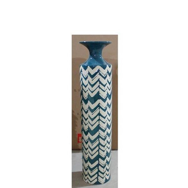 Teal Cheveron Vase