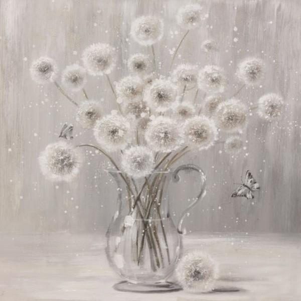 White Poms in Vase