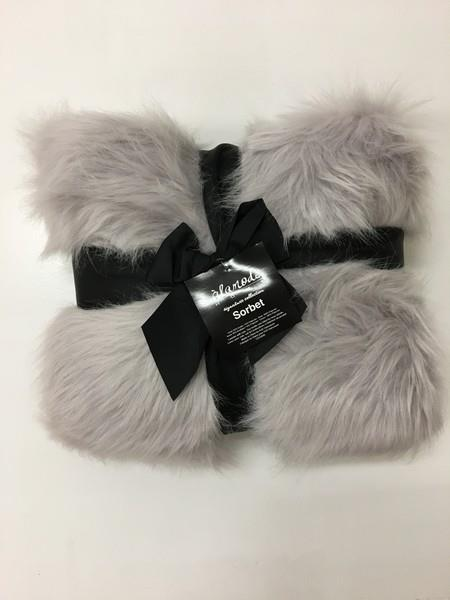 Lilac Grey Faux Fur Throw
