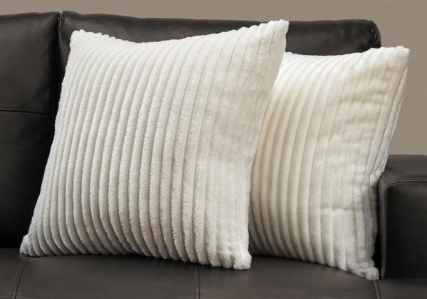 White Ribbed Toss Cushion