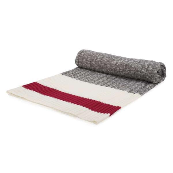Grey, Red and White Knit Throw