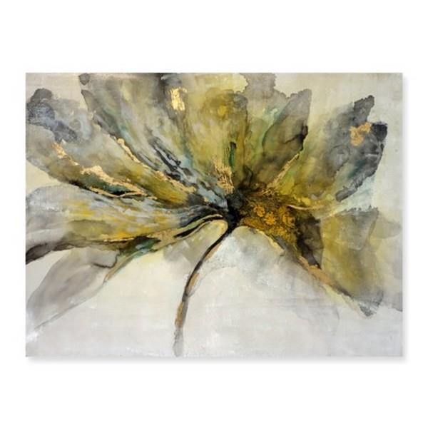 Grey and Gold Floral Canvas Print
