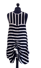 Lagenlook Striped Hitched Hem Dress in Black/White