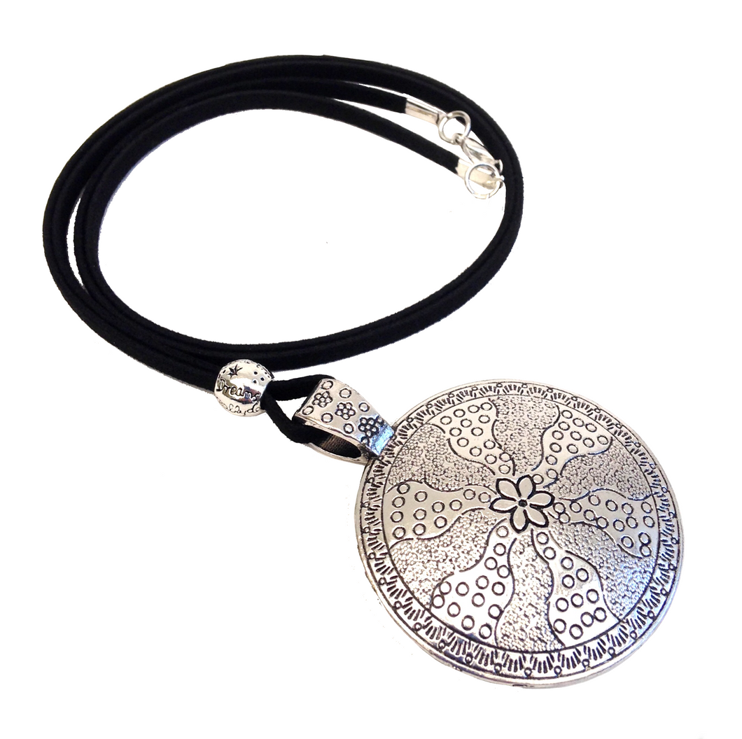 Longer Length Lagenlook Round Silver Pendant Necklace