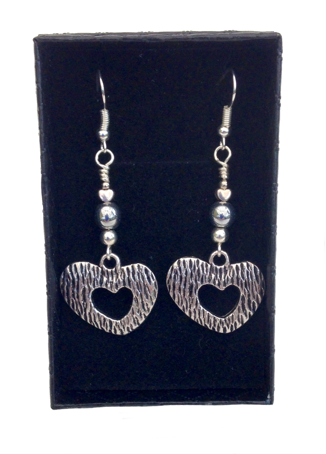 Lagenlook Bold Heart Earrings in Antique Silver