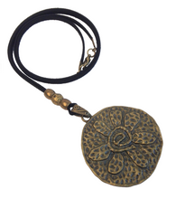 Longer Length Lagenlook Large Round Flower Pendant Necklace in Antique Bronze
