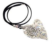 Longer Length Lagenlook Statement Heart Spiral Pendant Necklace in Antique Silver
