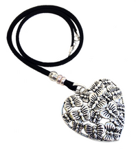 Longer Length Lagenlook Heart Butterfly Pendant Necklace in Antique Silver